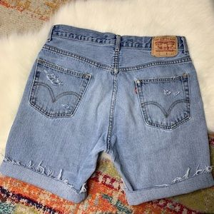 Levi's 505s Distressed Worn Cutoffs Bermuda Shorts